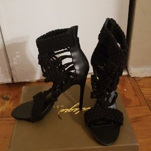 Privileged Black Knit Heeled Sandal